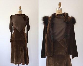 1930s dress / silk and velvet dress / 30s Aris dress
