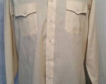 """Vintage western shirt, butterfly collar, 60s 70s, yellow-beige, 16 1/2, 44"""", large"""