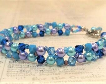 Aqua Right Angle Weave Crystal Bracelet, March Birthstone, Aquamarine Swarovski Crystal, Woven Seed Bead Bracelet, Aqua, Capri, Turquoise