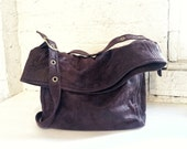 SAMPLE ITEM, READY to Ship, Crossbody Bag in Dark Brown Faux Suede, Vegan Bag, Vegan Crossbody Bag with Belt Buckle Strap