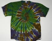 Deep Woods Spiral Tie Dye T-Shirt  (Fruit of the Loom Heavy Cotton HD Size L) (One of a Kind)