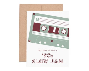 90s Slow Jam Letterpress Greeting Card - Blank Card | Love Card | Valentine's Day | Greeting Cards