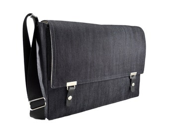 "17"" Laptop messenger bag - dark blue denim"