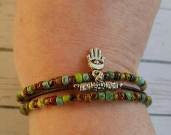 Hamsa Bracelet - Kabbalah Bracelet - Everyday Bracelet - Multistrand Bracelet - Best Boho Bracelet - Protection Bracelet -  Choose ONE Charm
