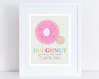 doughnut love donut art - 10x8 print colourful room decor kids nursery art children baby girl quote pink funny food dessert kids wall decor