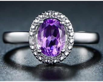 18K White Gold Plated 4 CTW Genuine Amethyst and Diamond Accent Ring