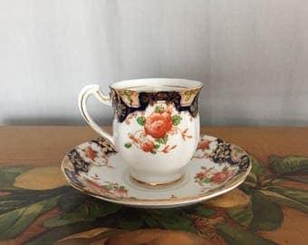 Royal Standard Fine Bone China Teacup and Saucer Set Vintage Blue Orange Floral Made in England