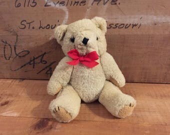 Teddy Bear Vintage Toy Plush Stuff Animal Beige Fur Movable Arms Legs Red Bow