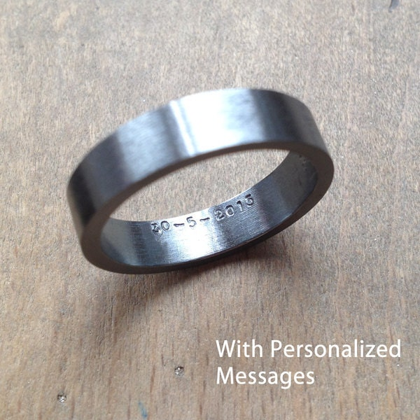 Wedding Ring In Oxidized Sterling Silver With Personalized Message Inside Black Wedding Band