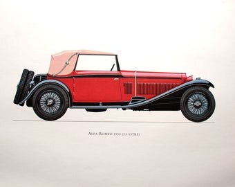 Alfa-Romeo 1930 (2.3 Litre) Car Collector Lithograph Print