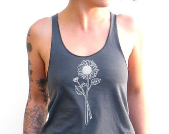 Sunflower Tank Top - Wildflower Tshirt - American Apparel Racerback  Tank Top - XS, Small, Medium, Large, XL, Extra Large
