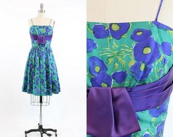 50s Dress Jr Theme XXS / 1950s Vintage Dress Silk Floral / Blue Ranunculas Dress