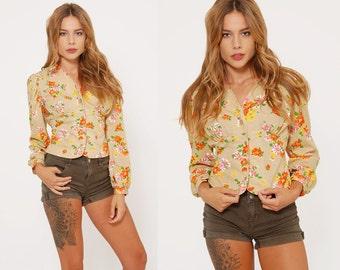 Vintage 70s FLORAL Top Tan PRINTED Hippie Top Boho Top Long Sleeve Blouse
