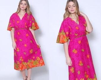 Vintage 70s BATIK Dress TROPICAL Floral Dress Boho Dress THAI Cotton Hippie Dress