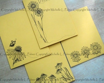 "Litchfield Hill Notepaper Stationery by Michelle L. Palmer  Daisy Echinacea Bumble Bee Garden Flower Bombus 4.25"" x 5.5"" Honey Wheat tone"
