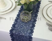 Navy Blue Lace Table Runner with Scalloped Edge Wedding Table Runner