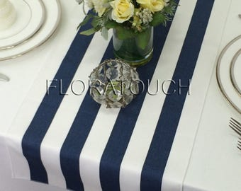 Navy Stripe Table Runner Navy and White Striped Wedding Table Runner with white stripes on the borders