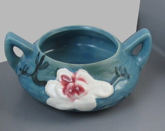 Roseville Pottery blue magnolia sugar bowl reproduction / shabby chic / home decor / depression ware / cache pot / trinket dish