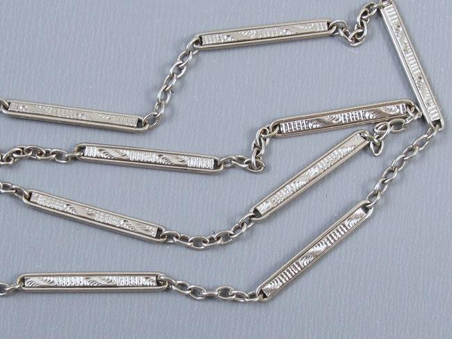 Vintage Art Deco white gold filled bar link pocket watch chain signed Speidel 1920s j131