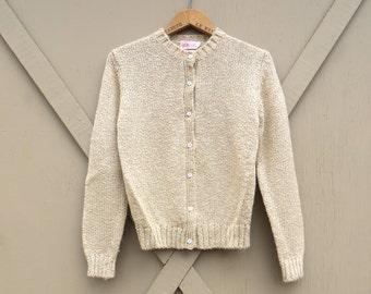 80s vintage Beige Acrylic Knit Cardigan Sweater / Ashley Cardigan Sweater