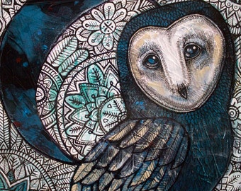 Snow Moon Owl Original Art by Artist Lynnette Shelley