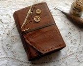 Toffee Tales - Rustic Leather Journal, Handbound, Tea Stained Pages, OOAK