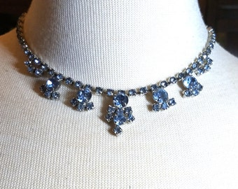 Blue Rhinestone Vintage Necklace Gorgeous 5 drops Wedding Prom