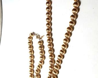 Trifari Vintage Necklace Gold Tone Beads Cat Face Symbol
