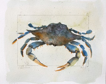 Colorful Blue and Green Coastal Beach Crab Watercolor by Clair Hartmann Original