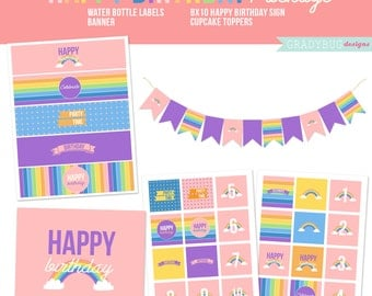 Rainbow Birthday Printables, Cupcake Toppers, Birthday Print, My Little Pony, Printable Banner, Rainbow Birthday, Girl, Instant Download