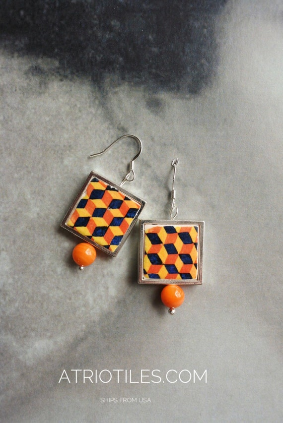 Silver Earrings Portugal Tile Azulejo Portuguese  Antique Majolica Replica FRAMED , AvEIRO Orange - Geometric  Retro Gift Box Included 791