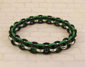 Helm Stretch Bracelet in Bright Green, Black & Silver