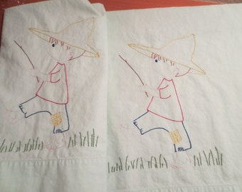 Vintage Pair of Mint Green Pillowcases with Embroidered Fishemen / Childrens pillowcase /  Dan River Fine Muslin Standard size
