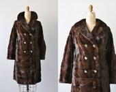 Vintage 1960s Brown Mink Coat / Double Breasted / Half Belt /  Embroidered Lining