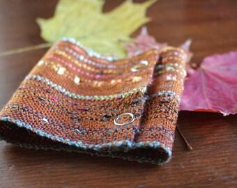"Handwoven Wide Cuff (6 1/2"" wrist), Woven Bracelet in Bronze and Rust"