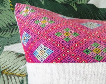 "20"" WHITE African Mudcloth Textile with Hot Pink HMONG Embroidered fabric Pillow Cover, tribal, boho"