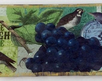 "Decoupage Glass Tray ""Blue Grapes"""