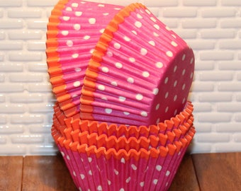 Brite Pink Polka Dot With Orange Trim Heavy Duty Cupcake Liners (Qty 32) Pink Polka Dot Cupcake Liners, Pink Cupcake Liners, Baking Cups