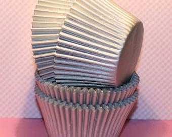NEW - Jumbo Silver Heavy Duty Cupcake Liners (Qty 24) Jumbo Silver Baking Cup, Jumbo Silver Muffin Cup, Jumbo Muffin Cups, Jumbo Baking Cups