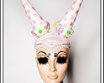 Prankster…. Pink Ice Cream Cone Hat Headdress with Glitter