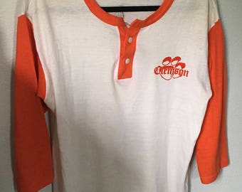 Vintage Clemson Tigers Raglan T-shirt Shirt Large XL Orange Sports South Carolina College Football
