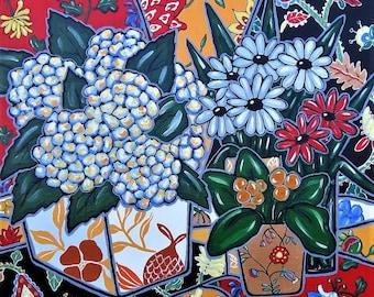 "Original acrylic still life painting canvas, Shabby French Country art, 24"" x 24"", Hydrangeas, daisies, floral wall decor, gift idea"