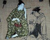 RARE ASIAN FABRIC Geishas Linen-like Fabric - 1 Exact Yard - A14