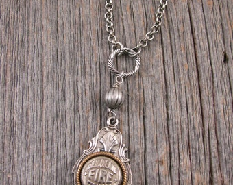 Button Jewelry - Button Necklace -  Vintage Cleveland Fire Department Silver Cuff Button Pendant Necklace - Remembering 911