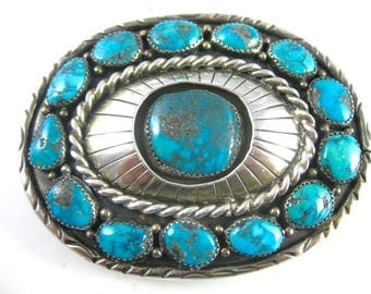 Vintage Navajo Sterling Silver Marcnci Turquoise Shadow Box Belt Buckle