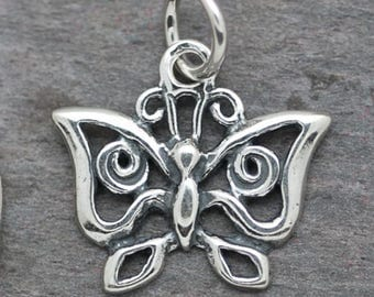 Sterling Silver Butterfly Charm Embellishment Findings BFLY2