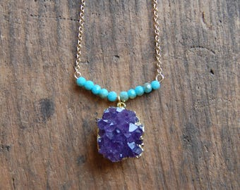 Gold Plated Druzy Amethyst Druzy Stone Cluster Necklace with turquoise beaded bar. Tiny Gemstone Beaded Bar. Druzy Geode Necklace