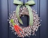 EASTER WREATHS, Easter Decor, Spring Berry Wreaths, Spring Wreaths, Easter Wreath for Door, Welcome Wreaths, Carrot Decor for Easter