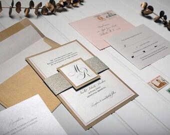 Glitter Band Design Main Wedding Invitation - Gold or Silver