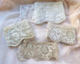 "Antique Filet Lace Remnants all Cotton in White and Ivory 75"" total or 2 Yards 3"""
